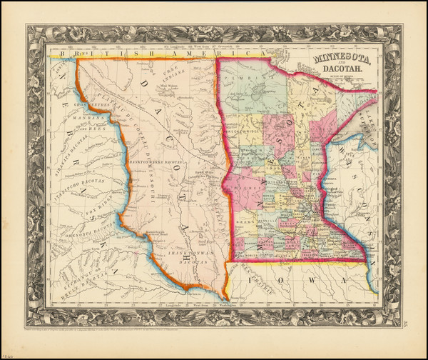 68-Minnesota, North Dakota and South Dakota Map By Samuel Augustus Mitchell Jr.