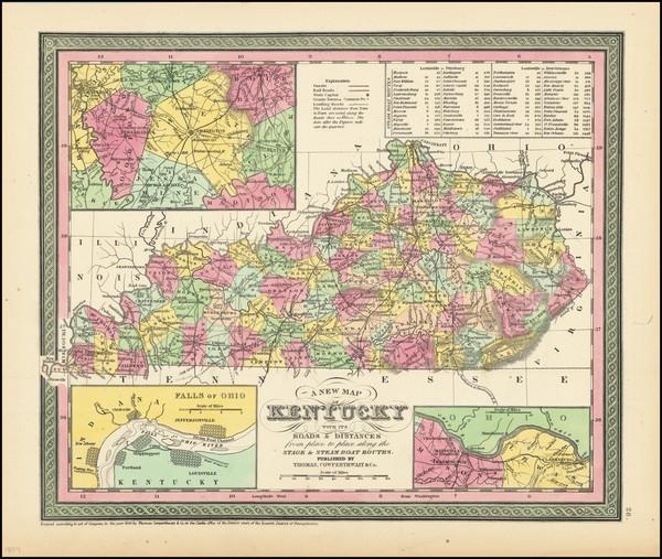 78-Kentucky Map By Thomas, Cowperthwait & Co.