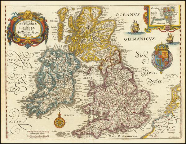 16-British Isles Map By Matthaus Merian