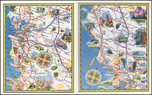 23-Pictorial Maps and California Map By Deseret News Press