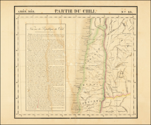 79-Chile Map By Philippe Marie Vandermaelen