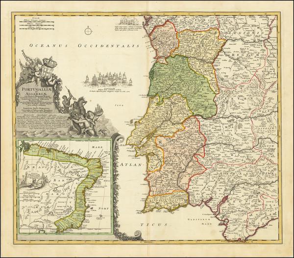 98-Brazil and Portugal Map By Johann Baptist Homann