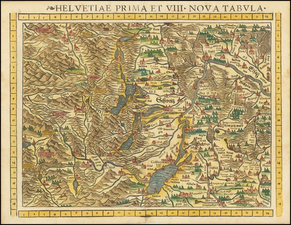 8-Switzerland Map By Sebastian Munster