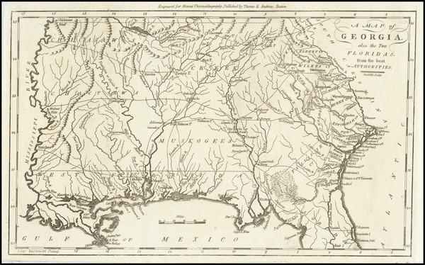 76-South, Southeast and Georgia Map By Jedidiah Morse