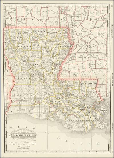 56-Louisiana Map By George F. Cram