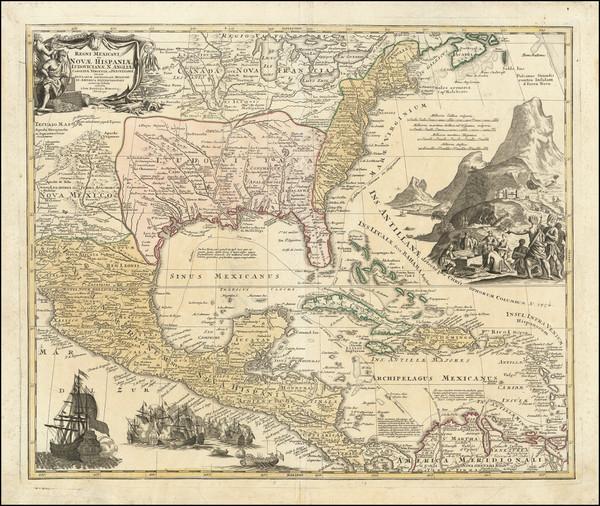 74-United States, South, Southeast, Texas, Midwest and Caribbean Map By Johann Baptist Homann / Au