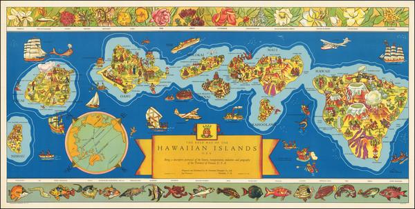 92-Hawaii, Hawaii and Pictorial Maps Map By Hawaiian Pineapple Company