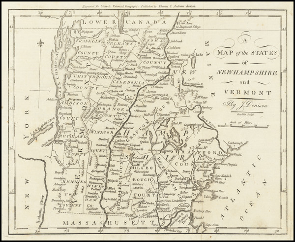 29-New Hampshire and Vermont Map By Jedidiah Morse
