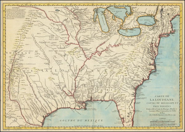 57-United States, South, Southeast, Midwest, Plains and Canada Map By Jacques Nicolas Bellin