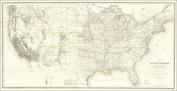 3-United States Map By U.S. General Land Office
