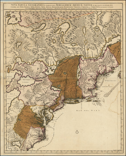 45-New England, Mid-Atlantic and Southeast Map By Nicolaes Visscher II