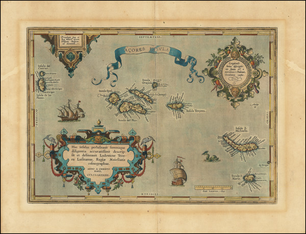 96-Atlantic Ocean, Portugal and Balearic Islands Map By Abraham Ortelius