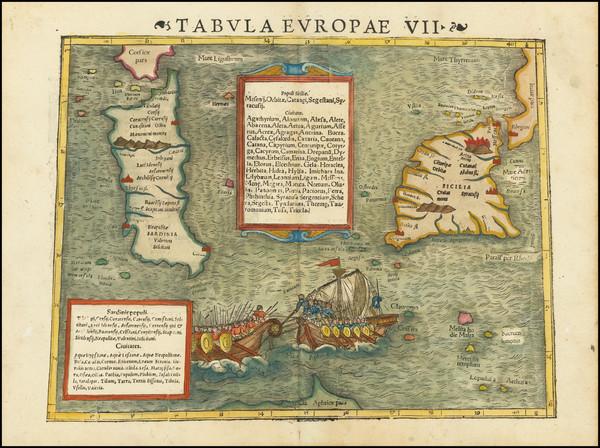 5-Malta, Sardinia and Sicily Map By Sebastian Munster