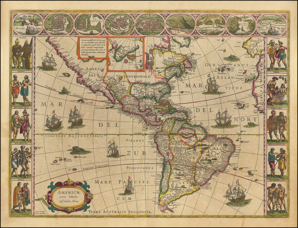 27-North America, South America and America Map By Willem Janszoon Blaeu