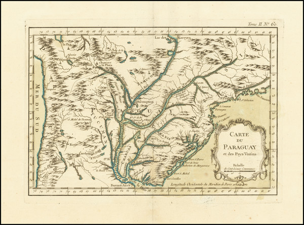 95-Brazil and Paraguay & Bolivia Map By Jacques Nicolas Bellin