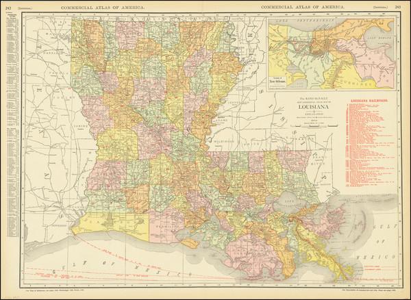 85-Louisiana Map By Rand McNally & Company