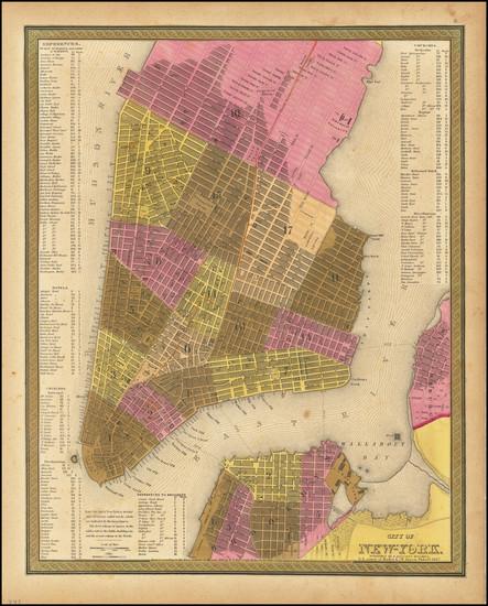 67-New York City Map By Samuel Augustus Mitchell