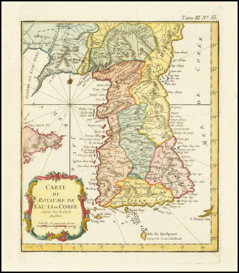 15-Korea Map By Jacques Nicolas Bellin