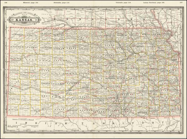1-Kansas Map By George F. Cram