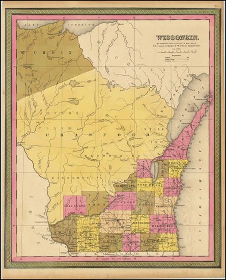 67-Wisconsin Map By Samuel Augustus Mitchell