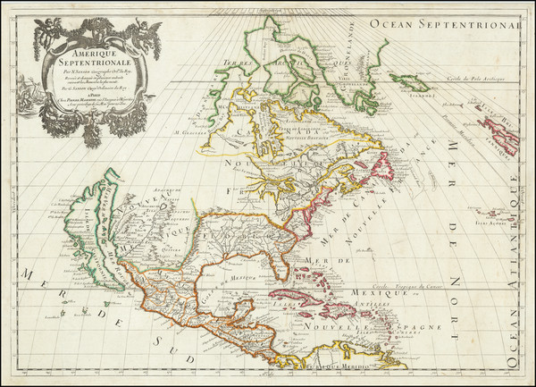 57-North America and California as an Island Map By Guillaume Sanson / Pierre Mariette