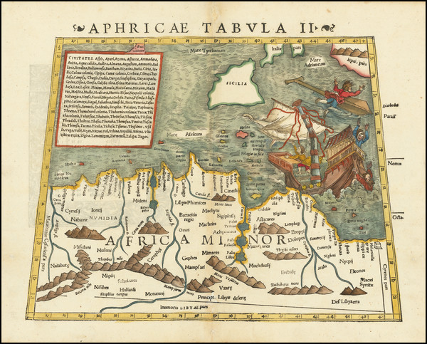 89-Malta, Sicily and North Africa Map By Sebastian Munster