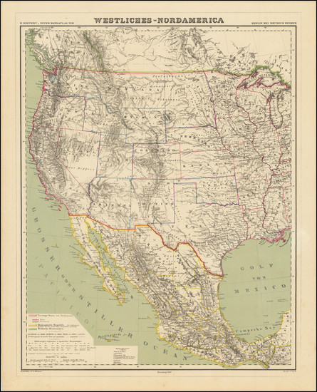 4-Texas, Plains, Southwest, Rocky Mountains and California Map By Heinrich Kiepert