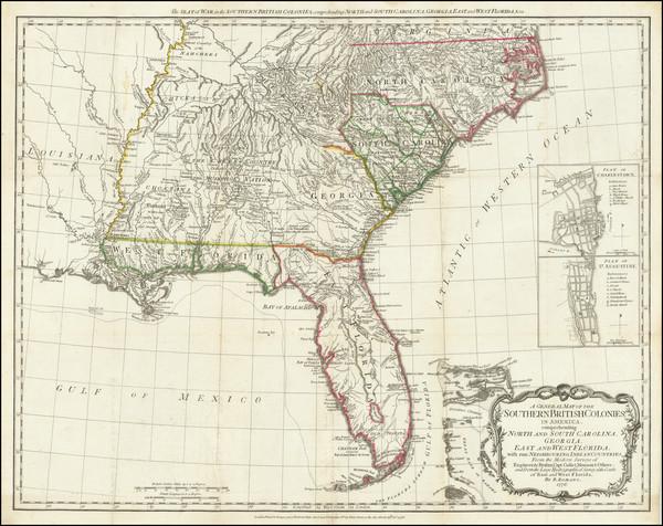 71-Florida, South, Southeast and American Revolution Map By Robert Sayer  &  John Bennett