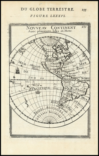 65-Western Hemisphere, California as an Island and America Map By Alain Manesson Mallet