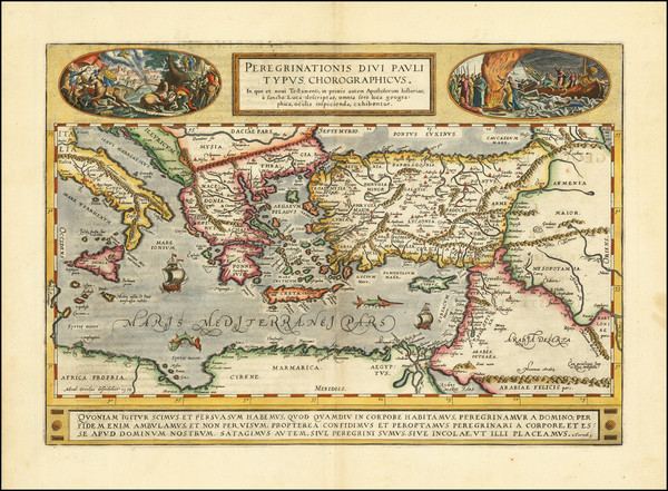 65-Mediterranean, Middle East, Holy Land, Turkey & Asia Minor and Greece Map By Abraham Orteli