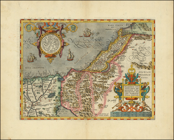 7-Holy Land Map By Abraham Ortelius