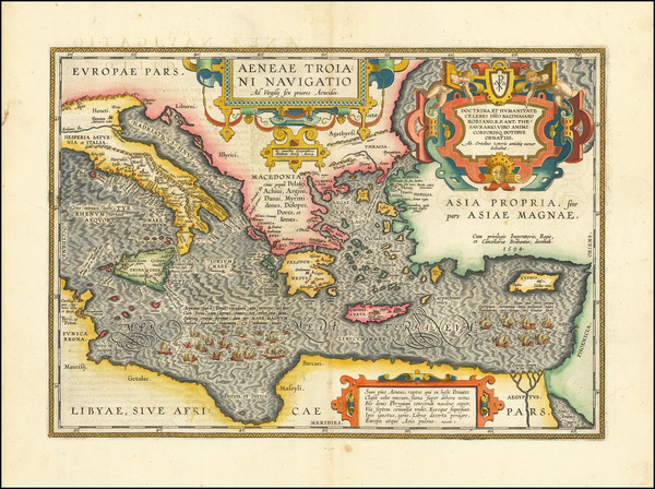 90-Turkey, Mediterranean, Turkey & Asia Minor and Greece Map By Abraham Ortelius