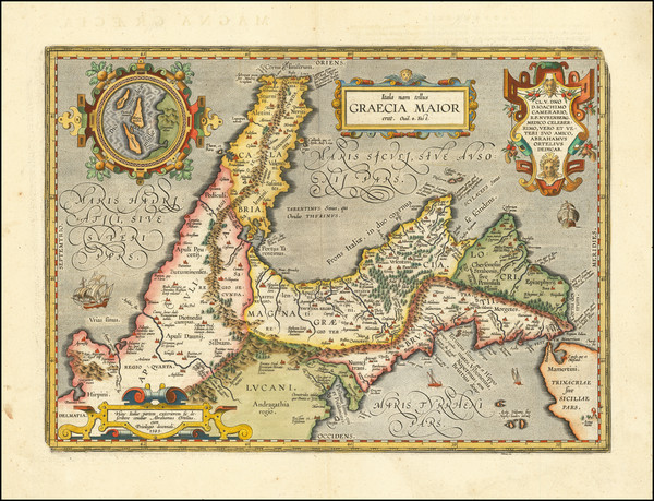 34-Southern Italy Map By Abraham Ortelius