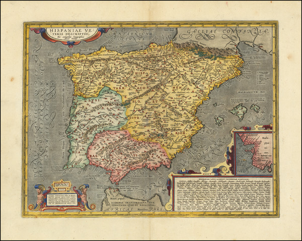 9-Spain and Portugal Map By Abraham Ortelius