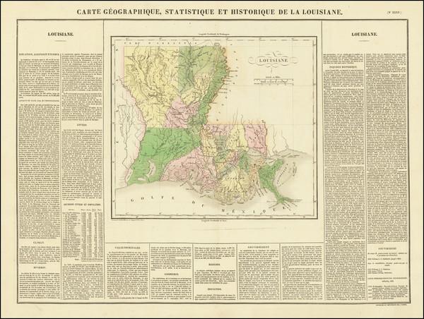 40-Louisiana Map By Jean Alexandre Buchon