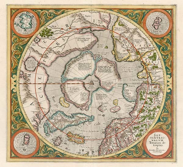 71-World, Northern Hemisphere, Polar Maps and California Map By Gerard Mercator