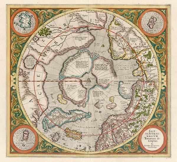 7-World, Northern Hemisphere, Polar Maps and California Map By Gerard Mercator