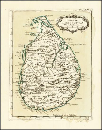 46-Sri Lanka Map By Jacques Nicolas Bellin