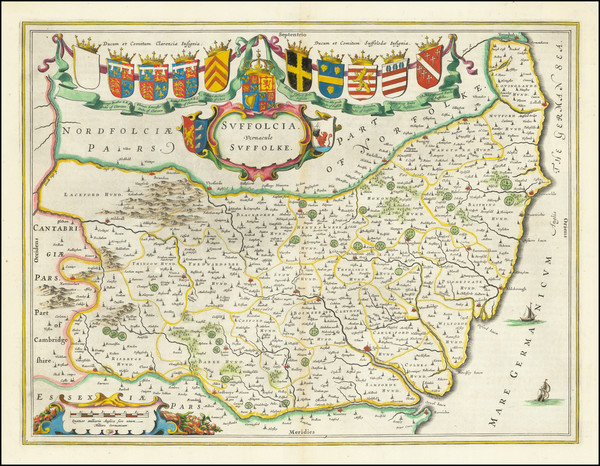 92-British Counties Map By Johannes Blaeu