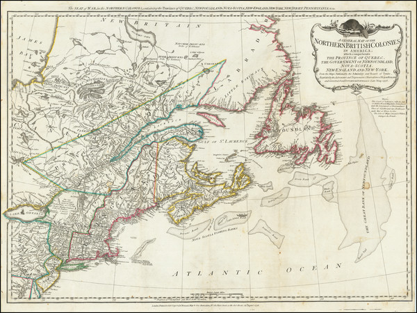 63-New England, New York State and Eastern Canada Map By Robert Sayer  &  John Bennett