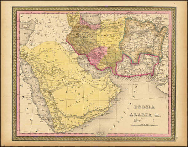 4-Middle East, Arabian Peninsula and Persia & Iraq Map By Samuel Augustus Mitchell