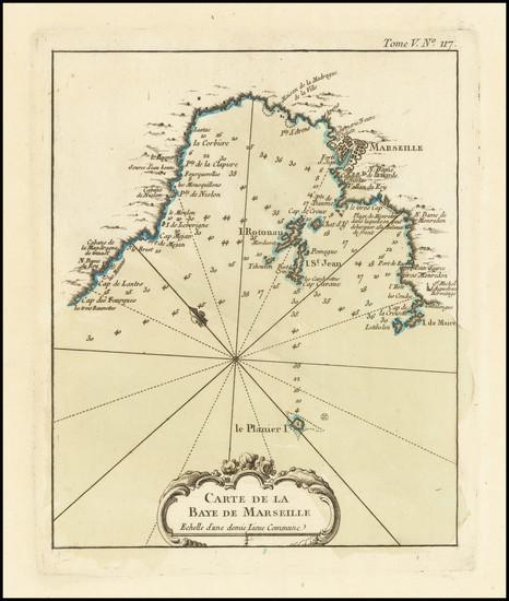 98-Sud et Alpes Française Map By Jacques Nicolas Bellin