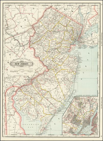 19-New Jersey Map By George F. Cram