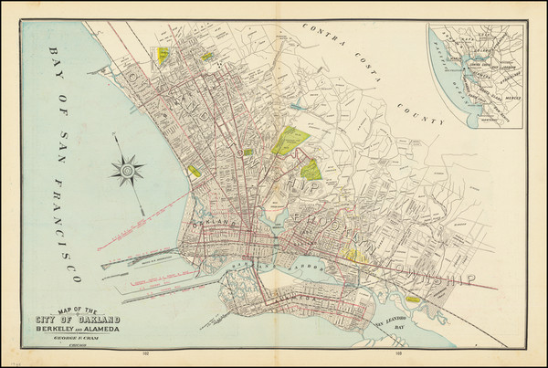 13-San Francisco & Bay Area and Other California Cities Map By George F. Cram