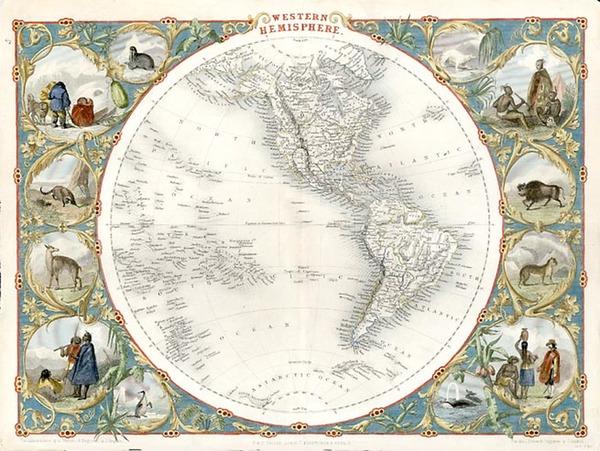 12-World, World, Western Hemisphere, South America and America Map By John Tallis
