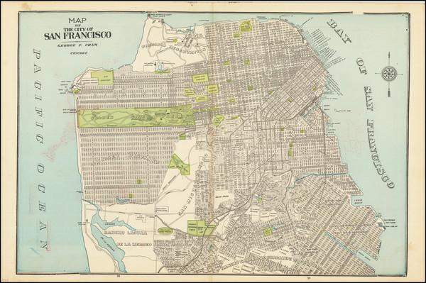 16-San Francisco & Bay Area Map By George F. Cram