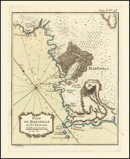 53-Sud et Alpes Française Map By Jacques Nicolas Bellin