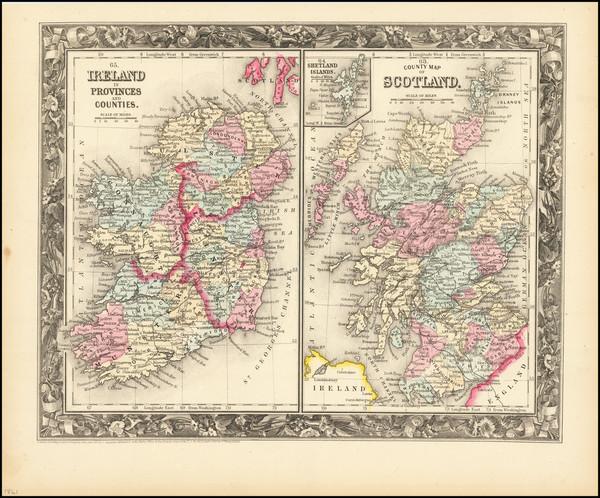 96-Scotland and Ireland Map By Samuel Augustus Mitchell Jr.
