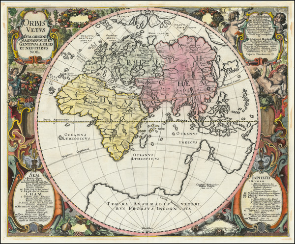 72-World and Eastern Hemisphere Map By Johannes Mejer