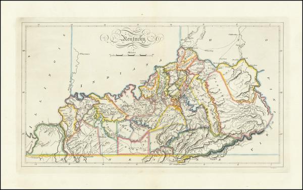 12-Kentucky Map By Mathew Carey